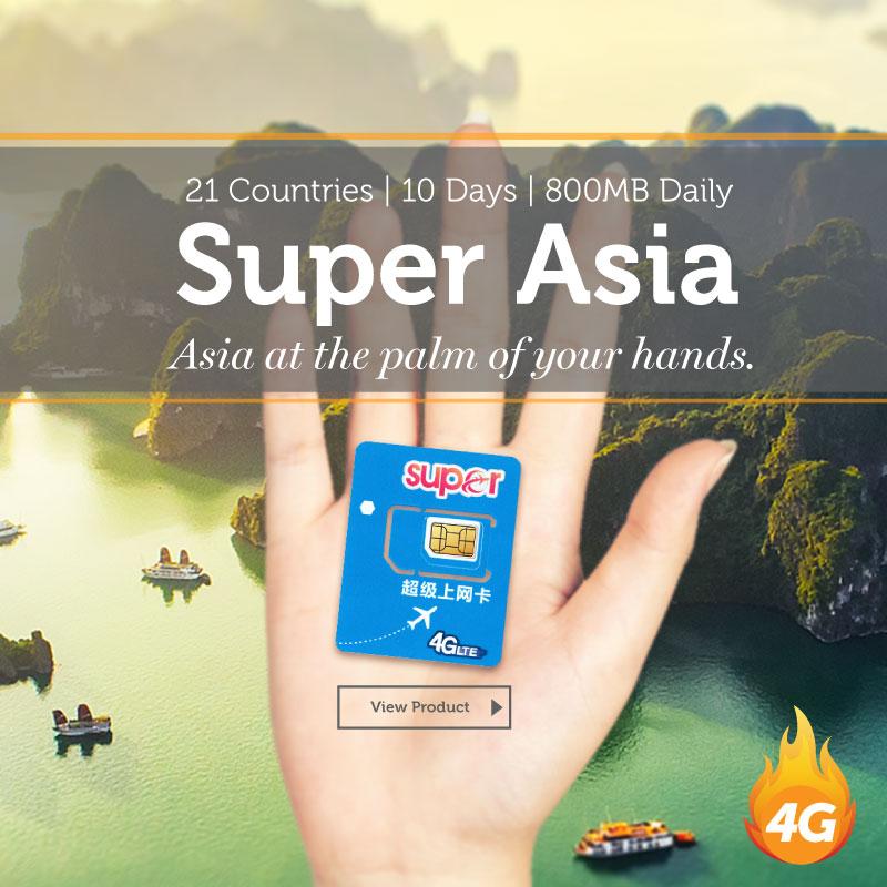 Super Asia Travel Prepaid SIM Card